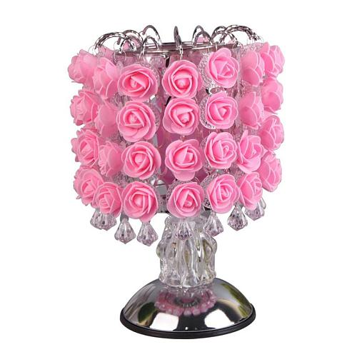 Fragrance Lamp Tree Light Rose Flower Table Lamp Home Decoration Lights with LEDs for Home Party Wedding  with EU Plug (Pink)