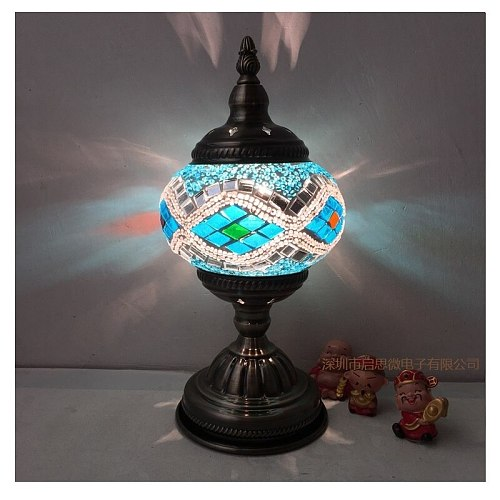 Mediterranean style Art Deco Turkish Mosaic Table Lamp Handcrafted mosaic Glass romantic bed light
