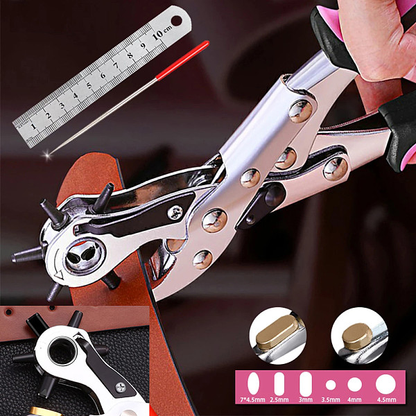 Puncher Belt Leather Belt Hole Punch Plier Eyelet Revolve Sewing Machine Bag Setter Tool Watchband Household Strap Leather DIY