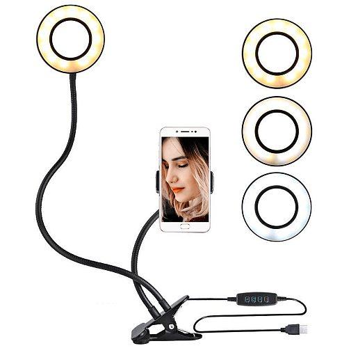 2in1 5V 12wPhoto Studio Selfie LED Ring Light Fill Light casting USB Clip w/Phone Holder Youtube Live Stream Makeup Live stream