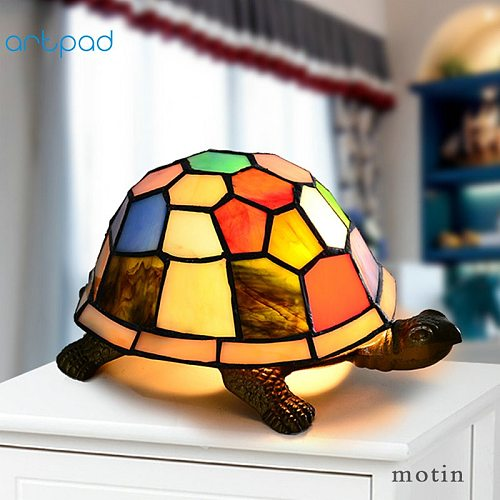 Artpad Mediterranean Style Butterfly Owl Turtle Night Light Baby Kids Bedroom Bedside Lighting Stained Glass LED Turkish Lamp