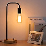 Creative Bedroom Bedside Dimmable Night Light Iron Desk Lamp with Romantic Wood Base(No light bulb)