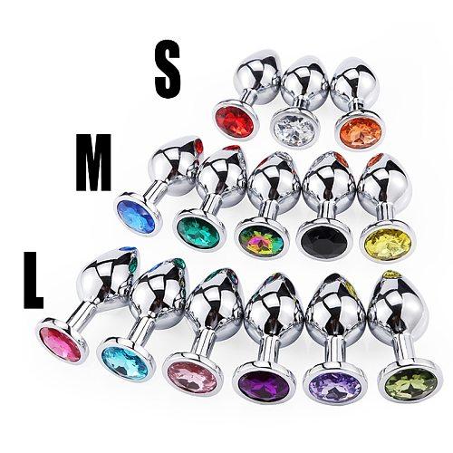 S/M/LAnal Beads Crystal Jewelry Round Butt Plug Stimulator Sex Toys Dildo Stainless Steel Anal Plug For Gay Couple anal plug