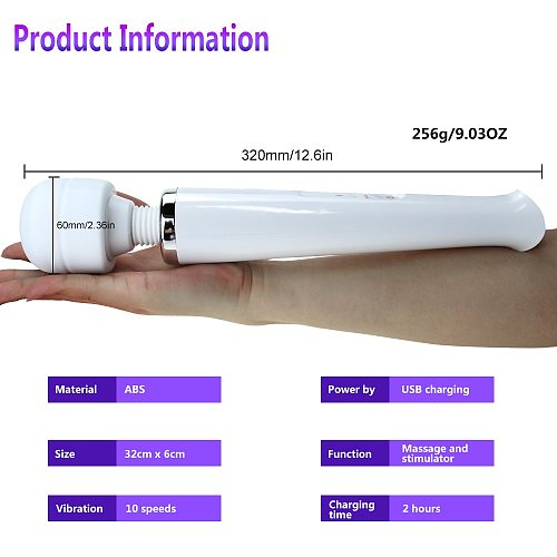 Big Vibrator Massage AV Stick Magic Wand Powerful 10 Modes Clitoris Stimulator Vibrator Adult Sex Toy for Woman Masturbator