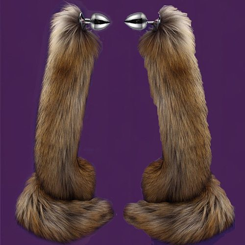78cm Super Long Fox Tail Anal Plug Faux Fur Tail Metal Butt Plug Cosplay Role Adult Novelty Anal Beads Sex Toys For Man Women