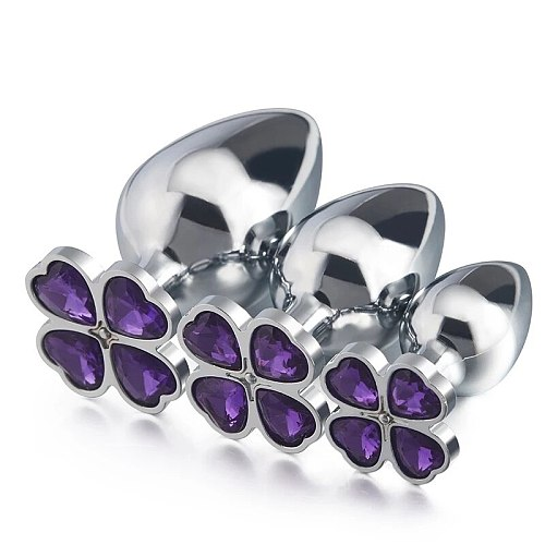 Small medium large set huge four leaf cover Metal Anal plug jewelry butt beads dildo insert BDSM vaginal Sex toy for men women