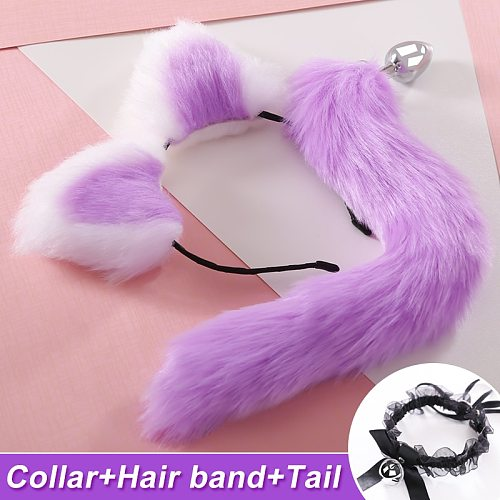 Multi-Colored Tail-Plug Hair- Clip Ears-Clip Role Play Makeup Metal Back Yard Anal Plug Chrysanthemum Sex Toys for Couples Women