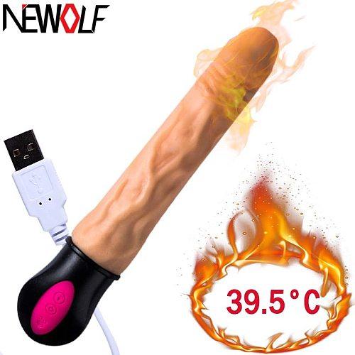 Realistic Dildo Vibrator 12 speed G Spot clitoris vaginal massage heating Soft Silicone Vibrator Adult Sex Toys for Woman Q235