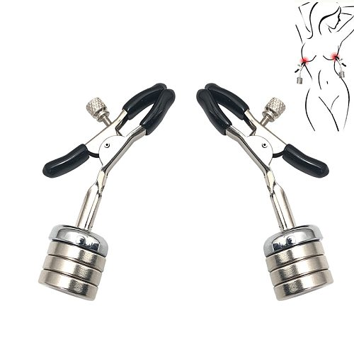 Magnetic clips torture play metal Nipple clamps breast Bondage Restraints Accessory BDSM Fetish women sex toy