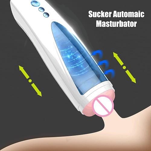Power Telescopic Rotation Male Masturbator with Sucker Adult Real Big Pussy Vagina Masturbators Sex Toys for Men Masturbadores