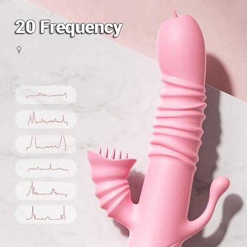 MY9COLORS Tongue Licking Vibrating Dildo Rabbit Vibrator Telescopic Swing Heating Anus G-Spot Stimulate AV Wands Adult Sex Toys