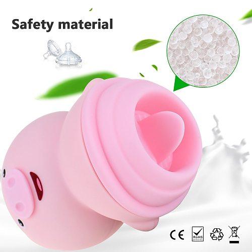 Cute Pig Soft Tongue Suck Vibrator Adults Sex Toys For Women Masturbator Clitoris Nipple Massager Breast G-spot Stimulator Dildo