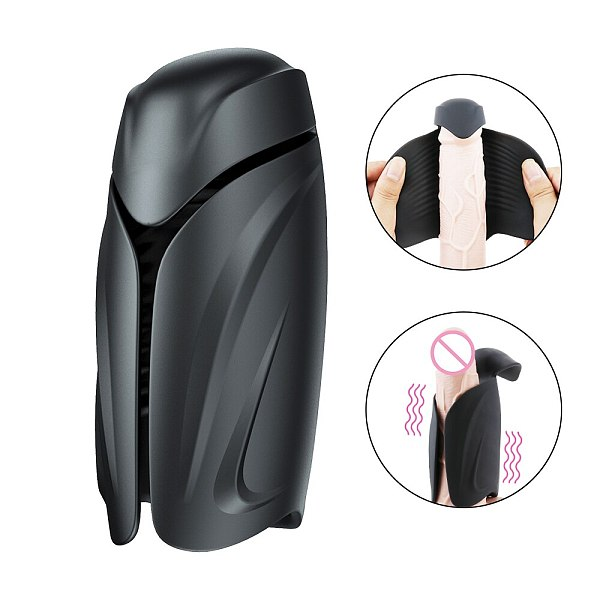 Improving Men's Sexual Stamina Vibrating Male Cup Handhold Penis Vibrator with 10 Modes Endurance Lasting Trainer