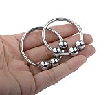 Three Beads Metal Semen Lock Ring Outdoor Penis Cock Male Masturbator Stainless Steel Ghost Exerciser Sex Toys for Man Products