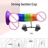 2021 New Arrival 7.6 Inch Rainbow Realistic Dildo Sex Toys for Women Masturbators Strap on Penis Sucker Anal Sex Toys Sex Shop