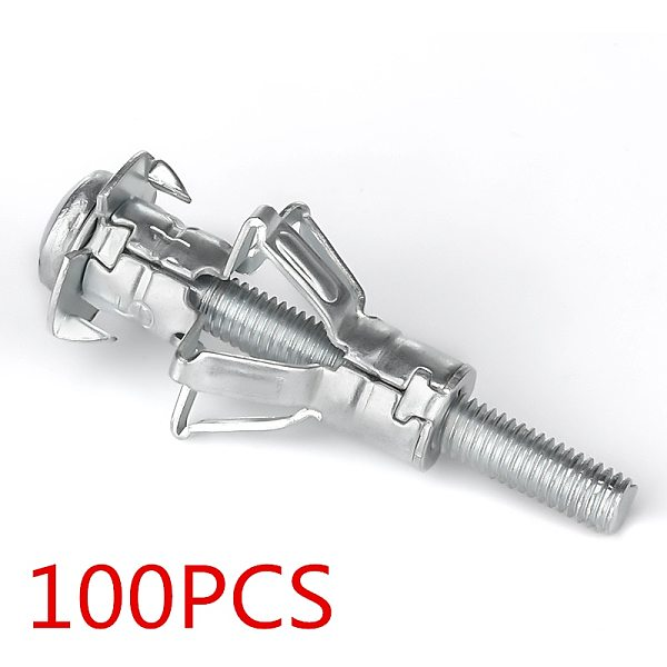 120PCS M4X20 Hollow Wall Metal Anchor Kit Plasterboard Drywall Cavity Plug Dowel for Ceiling Expansion Screws Gypsum Board Holes