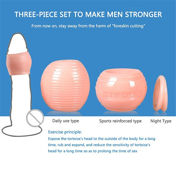 Reusable Foreskin Corrector for Men Silicone Cock Ring Ghost Exerciser Delay Ejaculation Adult Sex Toys Male Penis Stretcher