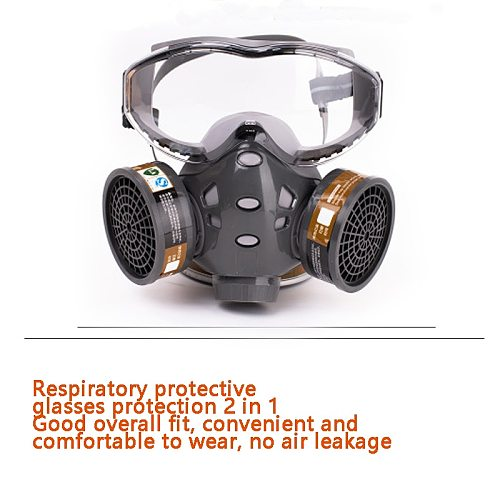 Full Face Gas Mask With Glasses Safety Spray Paint Chemical Pesticide Decoration Formaldehyde  Anti-Dust With Filter Respirator