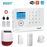 PGST PG103 Tuya Wifi GSM Alarm System Wireless Burglar Home Security System with RFID Card Motion Sensor APP Remote Control