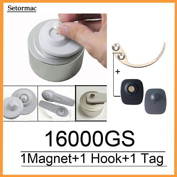 Magnetic Detacher 16000GS Cloth Security Tag Remover Checkpoint System RF8.2Mhz Compatible +1 Key Hook Detacher+1Alarm Sensors