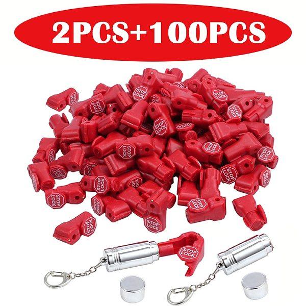 (100+2)PCS+ free shipping cost, Diameter 6mm Security tag euro hanger slot /shop display hook /euroslot stoplock anti theft