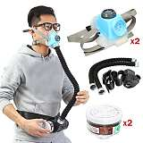 2pcs Electric Constant Flow Air Supplied Fed Respirator Half Face Gas Mask Pump 2 Pipe Respirator Respirator-System-Device Gas