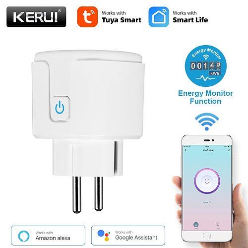 KERUI Tuya Smart Socket WiFi EU Plug Adaptor 16A Remote Voice Control Outlet Socket Work with Alexa Google Assistant Smart Life