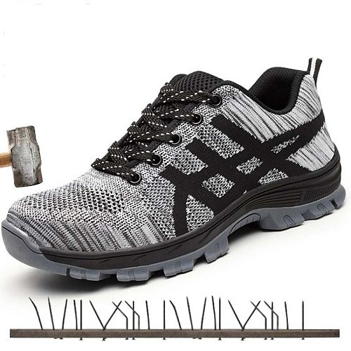 Autumn Safety Shoes steel toe Men, Fashion Anti-smashing Men's Work Shoes, Black Breathable Comfortable Sports Shoes seguridad