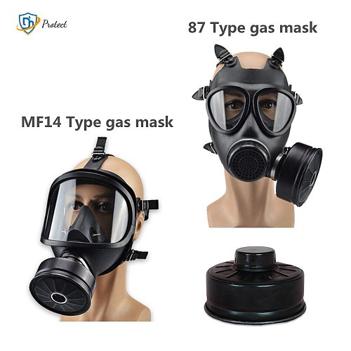 MF14/87 Type Gas Mask Full Face Chemical Respirator Natural Rubber Military Filter Self-priming