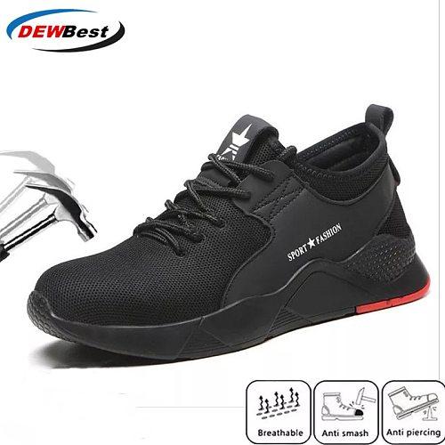 dewbewt brand plus size 36-46 steel toecap men women work & safety boots fashion lightweight sneakers casual male shoes
