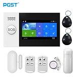 PGST PG107 Tuya Alarm System 4.3 inch Screen WIFI GSM GPRS Burglar Home Security With PIR Motion Sensor Fire Smoke Detector
