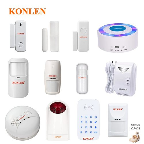 Wireless Door Window Alarm Infrared PIR Motion Sensor Fire Smoke Photoelectric Gas Leak Detector Keypad 433mhz of Konlen Series