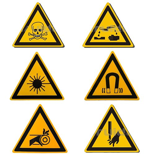 5/Pcs Warning Sticker Toxic/Laser/Magnet Sign Safety Labels Water-Proof Oil-Proof Warning Tags Wall Machine Sticker