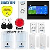 W4B 4.3 Inch TFT Screen WIFI GSM Home Burglar Security Alarm System Wire Motion Detector APP Control Fire Smoke Detector Alarm