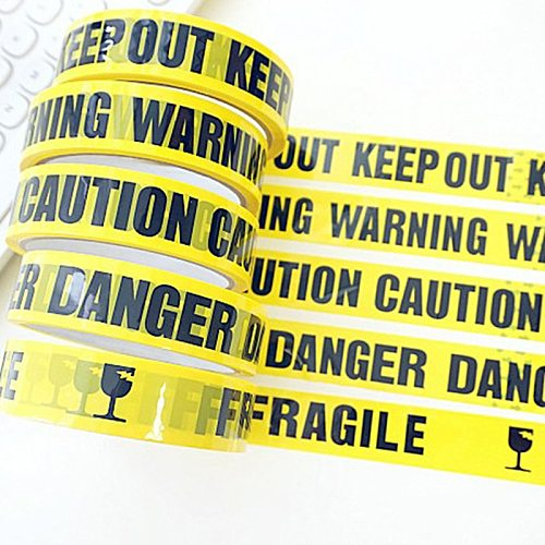 1 Roll 25m Warning Tape Danger Caution Barrier Remind Work Safety Adhesive Tapes DIY Sticker For Mall Store School