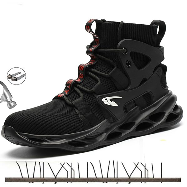 Safety Shoes Steel Toe Cap For Men Black Anti-smashing Men's Sports Shoes Boots Breathable Industriales Hiking Boots Work Shoes