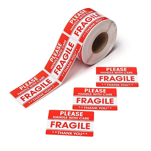 500Pcs/Roll Self Adhesive Fragile Warning Sticker Handle With Care Keep Express Label Postage Shipping Safety Express Label