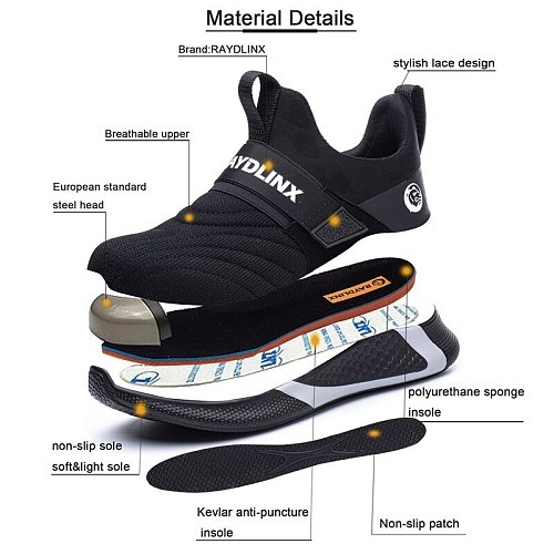 New Breathable Mesh Safety Work Shoes Men Light Sneaker Indestructible Steel Toe Soft Anti-piercing Work Boots Plus size