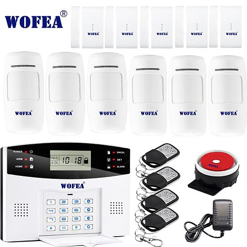 Free shipping Wofea IOS Android APP Control Wireless Home Security GSM Alarm System two way Intercom SMS notice for power off
