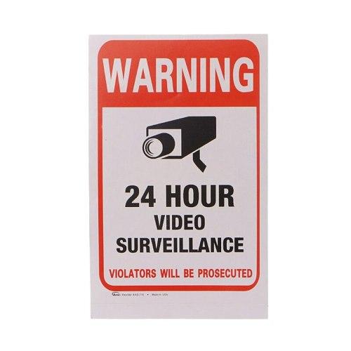 10pcs/lot Waterproof PVC 24 HOURS CCTV Video Surveillance Security Sticker Warning Signs