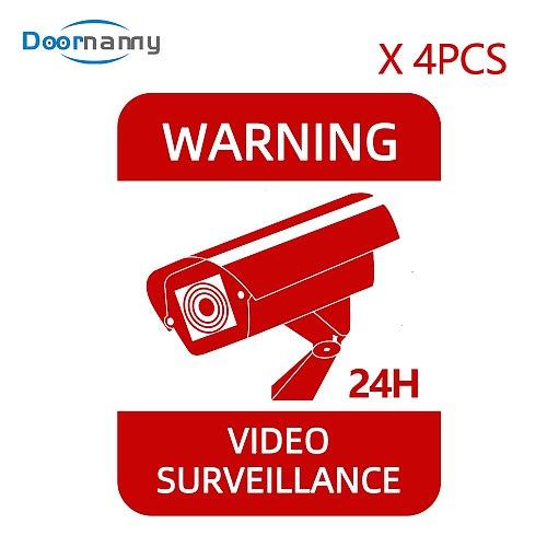 Doornanny 4pcs CCTV Waterproof Sunscreen Warning Signs Video Surveillance Alarm Stickers Strong Self-adhesive Orignal Design