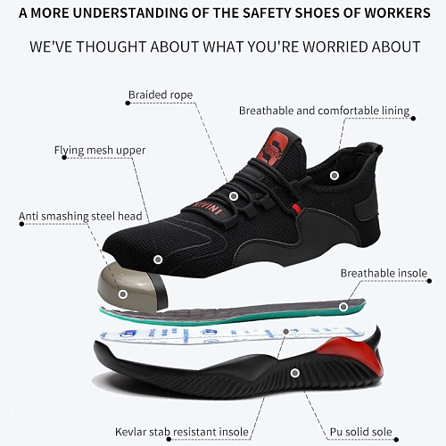 Summer Indestructible Work Shoes With Men Steel Toe Cap Safety Boots Puncture-Proof Work Sneakers Breathable Causal Safety Shoes