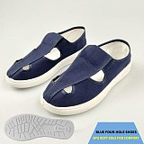 Hot Anti-static Slippers Safety Shoes Non-slip Breathable Massage PVC Six-hole Shoes Thick Soles Men And Women Summer Sandals