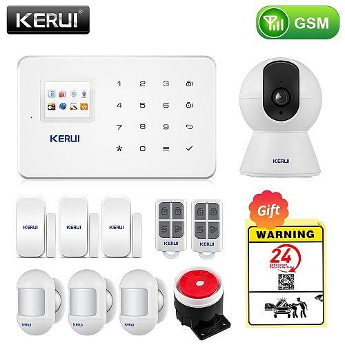 KERUI Wireless Smart Home GSM Security Alarm System SMS APP Control House Motion Detector Sensor Burglar Signal Device IP Camere