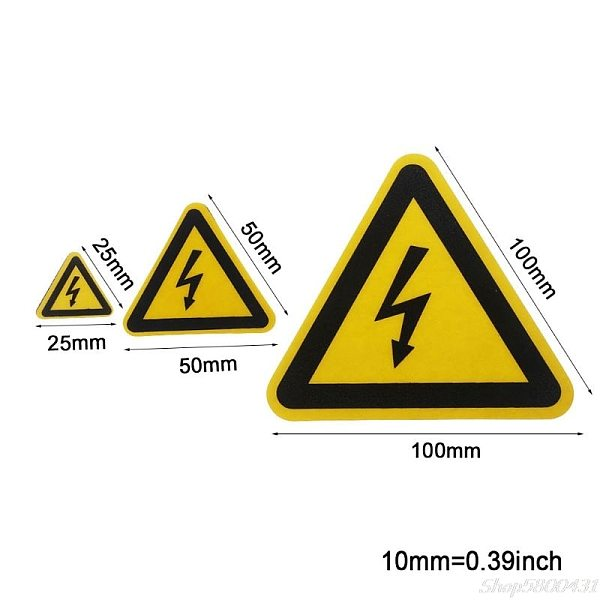 Warning Sticker Adhesive Labels Electrical Shock Hazard Danger Notice Safety 25mm 50mm 100cm PVC Waterproof S29 20 dropshipping