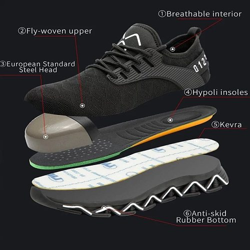 Fashion Safety Work Shoes Men Security Breathable Casual Suitable for Work and Life Round Toes Work Safety