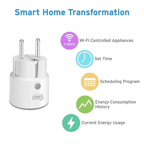 NEO Coolcam Smart Plug WiFi Socket 3680W 16A Power Energy Monitoring Timer Switch EU Outlet Voice Control by Alexa Google