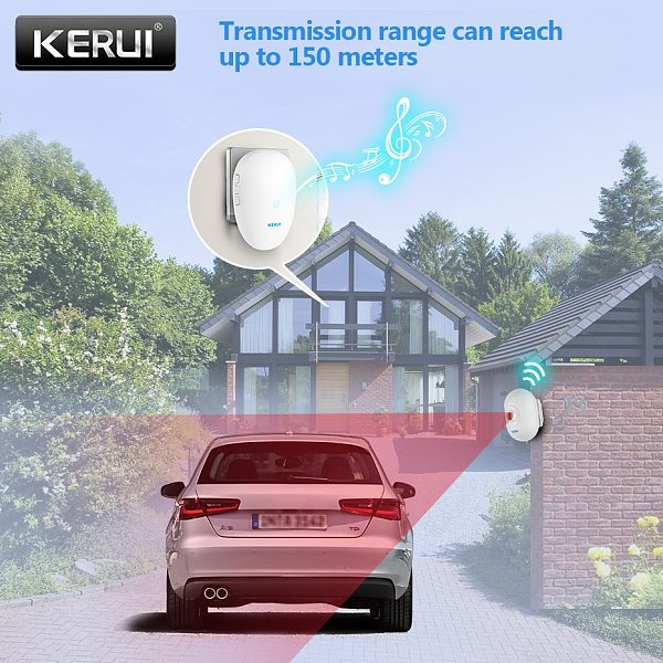 KERUI  Driveway Alarm Systems Smart Home Waterproof Motion Sensor Welcome Doorbell Car Garage Security Signal device For House
