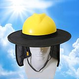 Hard Hat Sun Shield, Full Brim Mesh Neck Sun Shade Protector High Visibility, (Hard Hat Not Included) Blue, Black, Orange