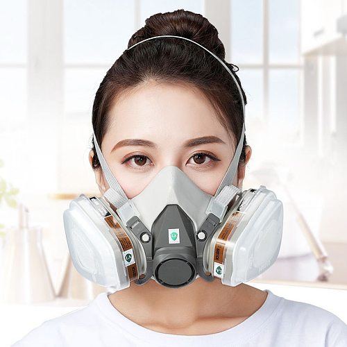 Anti-Dust Gas Mask With Filter Boxes Safety Goggles Chemical Respirator For Painting Machine Polishing Reusable Washable